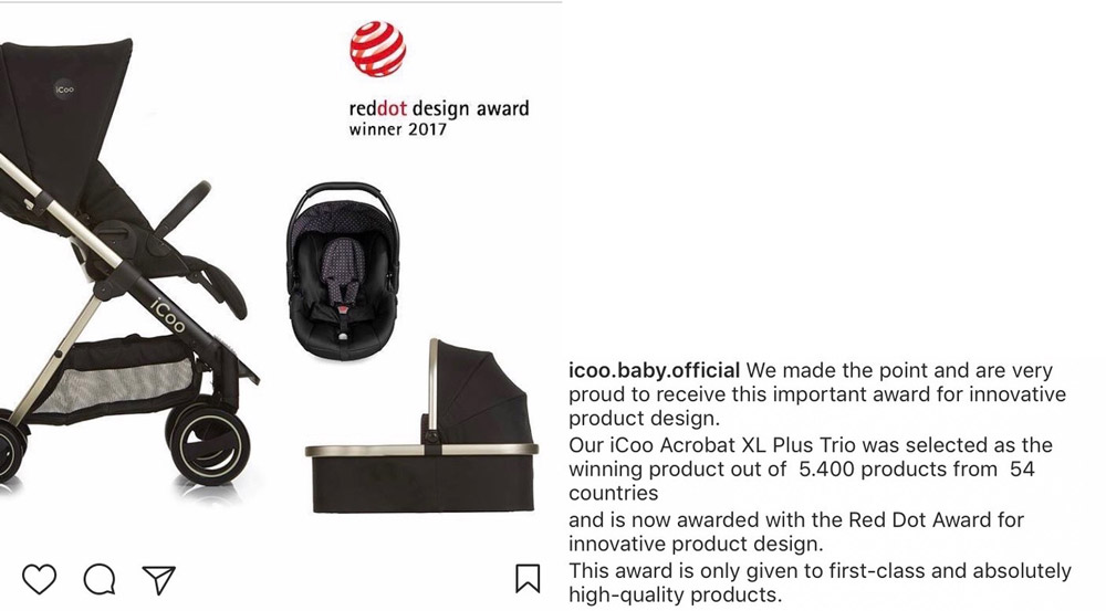 The Acrobat baby buggy wins Red Dot Award